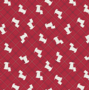 Lewis & Irene - Celtic Reflections - 5936 - Scotty Dogs on Red Check - A337.2 - Cotton Fabric